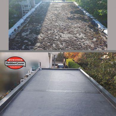 Bitumenes lapostető szigetelés javítás, felújítás Rubbercover gumilemezzel garázstetőn